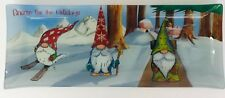 Christmas Gnome For The Holidays Glass Tray Platter Dish Prima Designs Snow