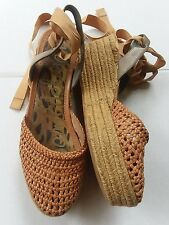 Sam Edelman Lace Up Espadrille Wedge Woven Ribbon Tie Spring Size 10 $130