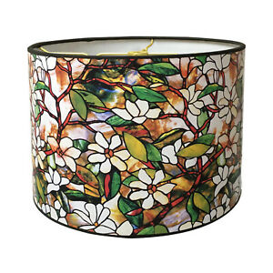 """10"""" Lampshade Magnolia Stained Glass Digital Print - Custom Made"""