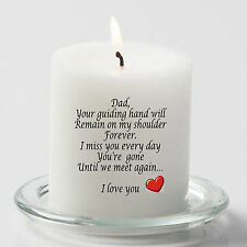 "Dad memorial candle for Dad Father  poem 3"" pillar candle 