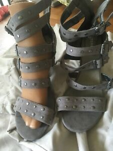 "Torrid Sz 12.5 W Grey Gladiator Sandals 4"" High Heel Studs Faux Leather Shoes"
