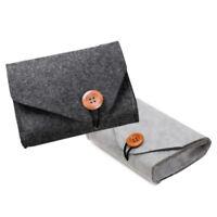 Durable Mini Felt Pouch Power Bank Storage Bag Data Cable Mouse Travel Organizer