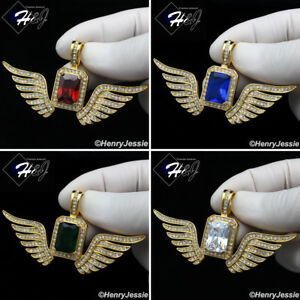 MEN's Stainless Steel Bling Green/Blue/Clear/Ruby Wing Charm Pendant*P108