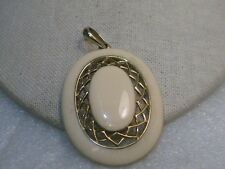 "Gold Tone, Swing Bail, 2.5"", 1980's Vintage Enameled Oval Pendant, Open Accent,"
