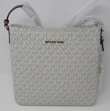 New Michael Kors Jet Set Vanilla Signature Acorn Leather Messenger Crossbody Bag