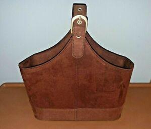 Suede Brown Tote Carrier BAG Open Top Single Handle Adj Buckle Flat Base