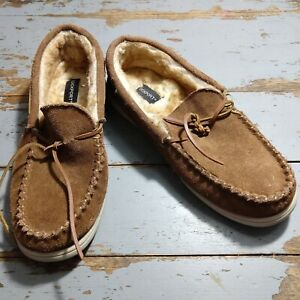 Rockport Suede Moccasins Slip-on Brown Rubber Sole Size 12M