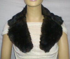 FASHION FAUX FUR COLLAR : PRE CUT AND FULLY LINED : TWO TONE BROWN : #10261 -