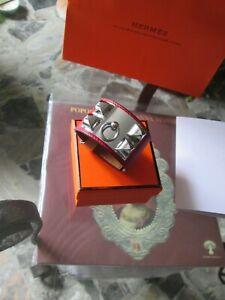 RARE Bracelet Hermes Collier de Chien CDC Red Rouge Hermès Epsom Gold Cuff