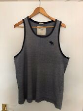 Abercrombie and Fitch Size L Large Relaxed Stripe Vest Tank Top Blue Muscle Fit