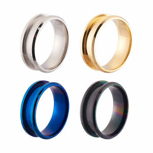 4pcs/box Stainless Steel Grooved Finger Ring Setting Ring Core Blank Mixed Color