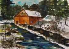 ORIGINAL Snow Landscape Watercolor Painting JMW art John Williams Impressionism