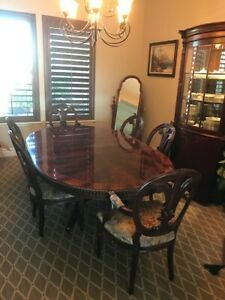 Heirloom Henredon DR Table, 6 Chairs, Hutch with two leaves, velvet cover
