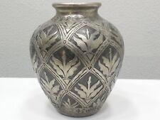 "Beautiful 9"" Silver Art Deco Floral Vase"