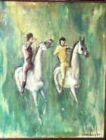 "Joyce Anastasia Urbanski Dancing Horses "" BAREBACK RIDERS "" Oil On Canvas MCM"