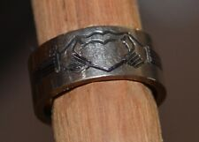 Vtg Titanium Love & Peace Ring Used Size 8 Carved