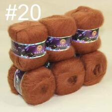 Sale 6x50gr balls NEW MOHAIR HAND Crochet KNITTING YARN Cashmere Silk Khaki 20
