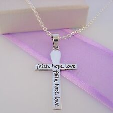 STERLING SILVER LOVE HOPE FAITH CROSS CHARM NECKLACE