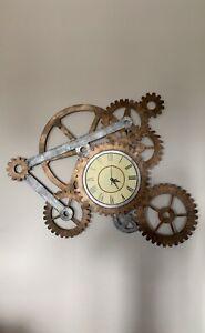Rustic Industrial Metal Gear Wall Clock 3D Art Sculpture Steampunk Accent Decor