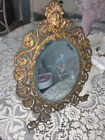 Antique Victorian Figural Ornate Bronze Easel Back Frame Beveled Dresser Mirror