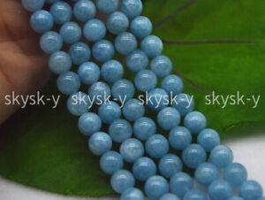 Natural 6/8/10/12mm Blue Larimar Gemstone Round Water Pattern Loose Beads 15''
