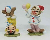 Clown Figurines Lefton Geo Z Set of 2 #02356 Porcelain Balloons Ball Carnival