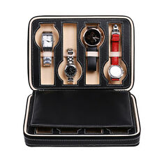 8 Slots Watch Display Storage Box Case Tray Zippered Travel Watch Collector Case