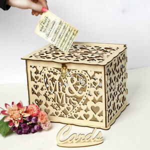 Wishing Well Card Box Decorative Wood Carved Wedding Engagement Party Rustic AU
