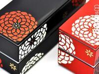 BENTO Lunch box boîte à pique nique Japonaise fleurs rouge noir 2 compartiments