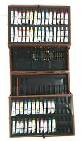 Lot of 52 NEW tubes Acrylic Watercolor & Oil Paint Art 101 Wood Travel Box
