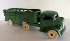 "Vintage 1920's Kenton Green Tractor Trailer Cast Iron Stake Truck 8"" Hubley Dent"