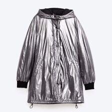 Zara Trafaluc Women's Padded Silver Parka Anorak Jacket Coat Size M NWT!