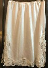 "Euc Wacoal Half Slip 82032 L Ivory beige Lace detail Side slits 25"" Large Rare"