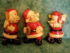 "VTG 1993 ""SPORTING SANTAS"" ORNAMENTS~3~CHRISTMAS AROUND WORLD~CLAY,DOUGH?~NIOB"