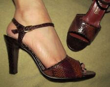 Chandler'S Sexy Brown Snakeskin leather ankle strap heels Vintage disco size 6 B