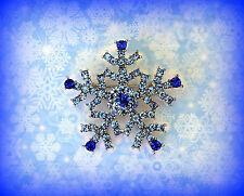 BLUE CRYSTAL RHINESTONE SNOWFLAKE PIN BROOCH~CHRISTMAS HANUKKAH GIFT FOR WOMEN