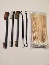 New 5pc Gun Rifle Pistol Cleaning Set 3 Brushes w/ 2 Picks + 100pc Cottons Swabs