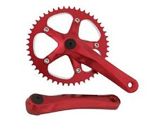 BICYCLE RED CRANK SET 48T X 170MM CRUISER LOWRIDER BMX MTB ROAD FIXIE CYCLING