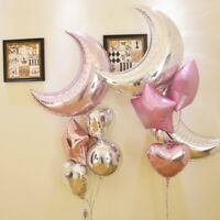 Helium Foil Balloon 36''Moon 18''Star Heart Birthday Wedding Party Balloon Decor