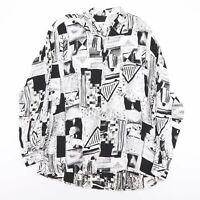 Vintage CASA MODA Black & White Crazy Patterned Shirt Men's Size Large