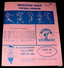 MADISON HIGH SCHOOL 1968 FOOTBALL PROGRAM vs JEFFERSON PORTLAND OREGON ROSTER