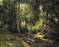 Art Oil painting Shishkin Ivan Ivanovich - Herd in the woods landscape on canvas