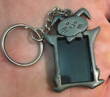 Bunny Rabbit Pewter Picture Frame Holder Keychain Keyring