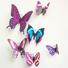 12pcs 3D PVC Butterfly Wall Stickers Art Home Decor DIY Room Magnetic Decals