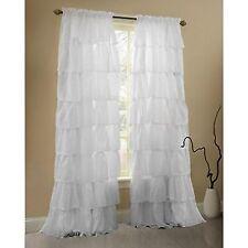 Gee Di Moda Ruffle Curtains Rod Pocket Window Curtains Panels White - 60 X