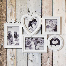 Large White 5 Aperture Picture Multi Wall Photo Frame 4x6 Collage Shabby Chic