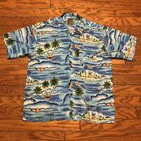 Pineapple Connection Floral Tropical Water Blue Hawaiian Shirt XL Extra Large