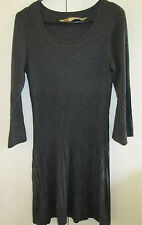 Ladies Rivers Size M Grey Knit Dress 3/4 Sleeve Cotton Blend