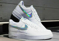 Nike Women's Air Force 1 07 CJ1646 ESS Iridescent Swoosh White Size 11