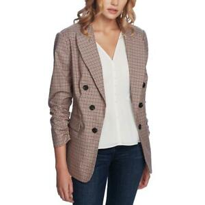 1.State Womens Brown Ruched Plaid Business Blazer Jacket S BHFO 6811